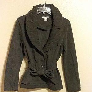 Charcoal grey ruffled collar jacket